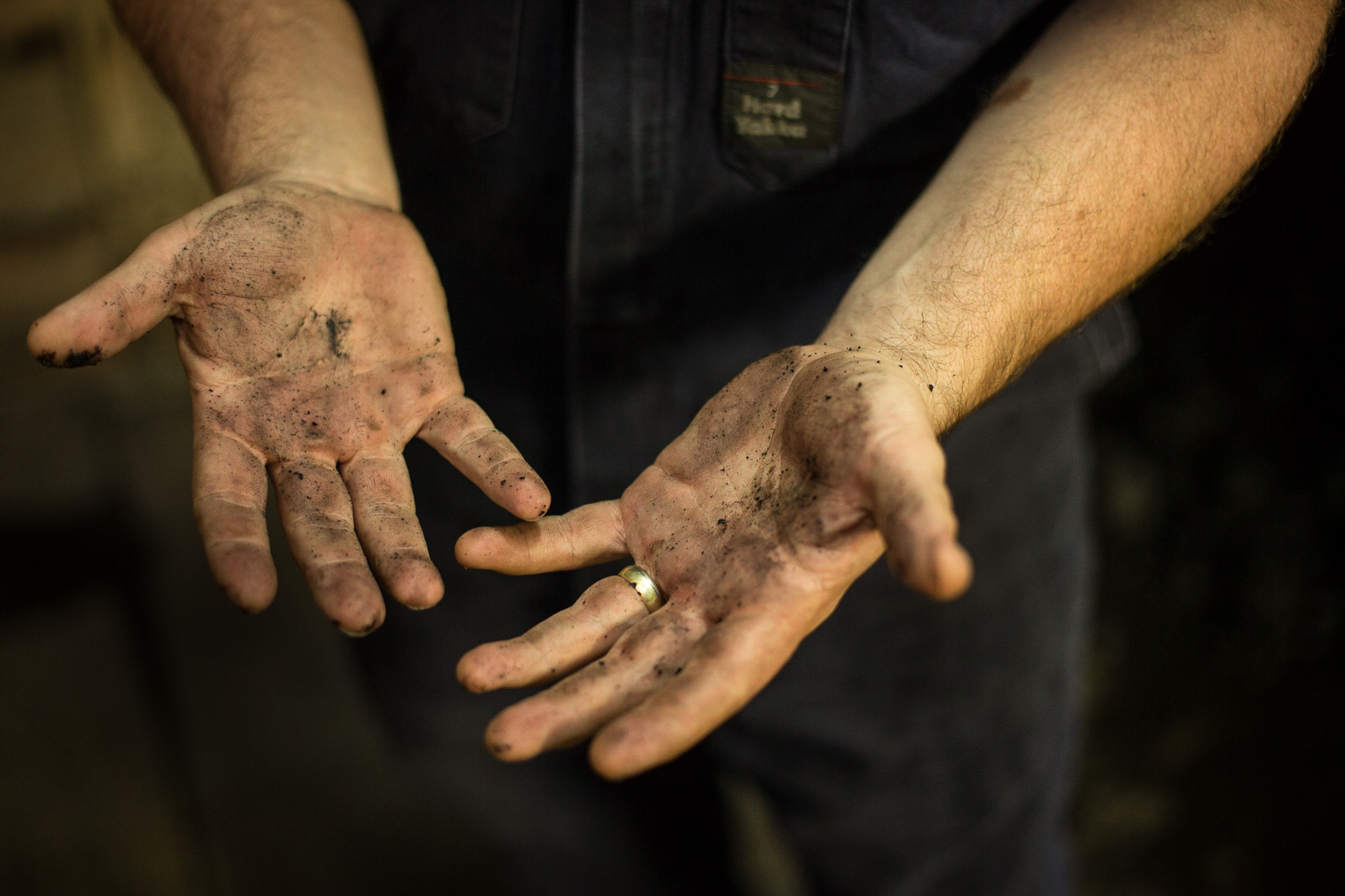 Coal dust on the hands of a steam engineer by Paul Green Photography